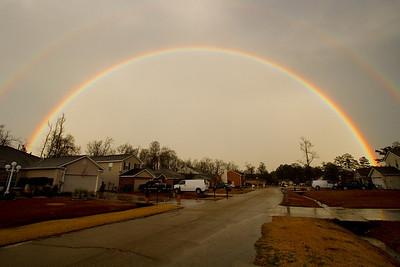 A rainbow over my neighborhood in Abita Spring, Louisiana on Jan 29th.