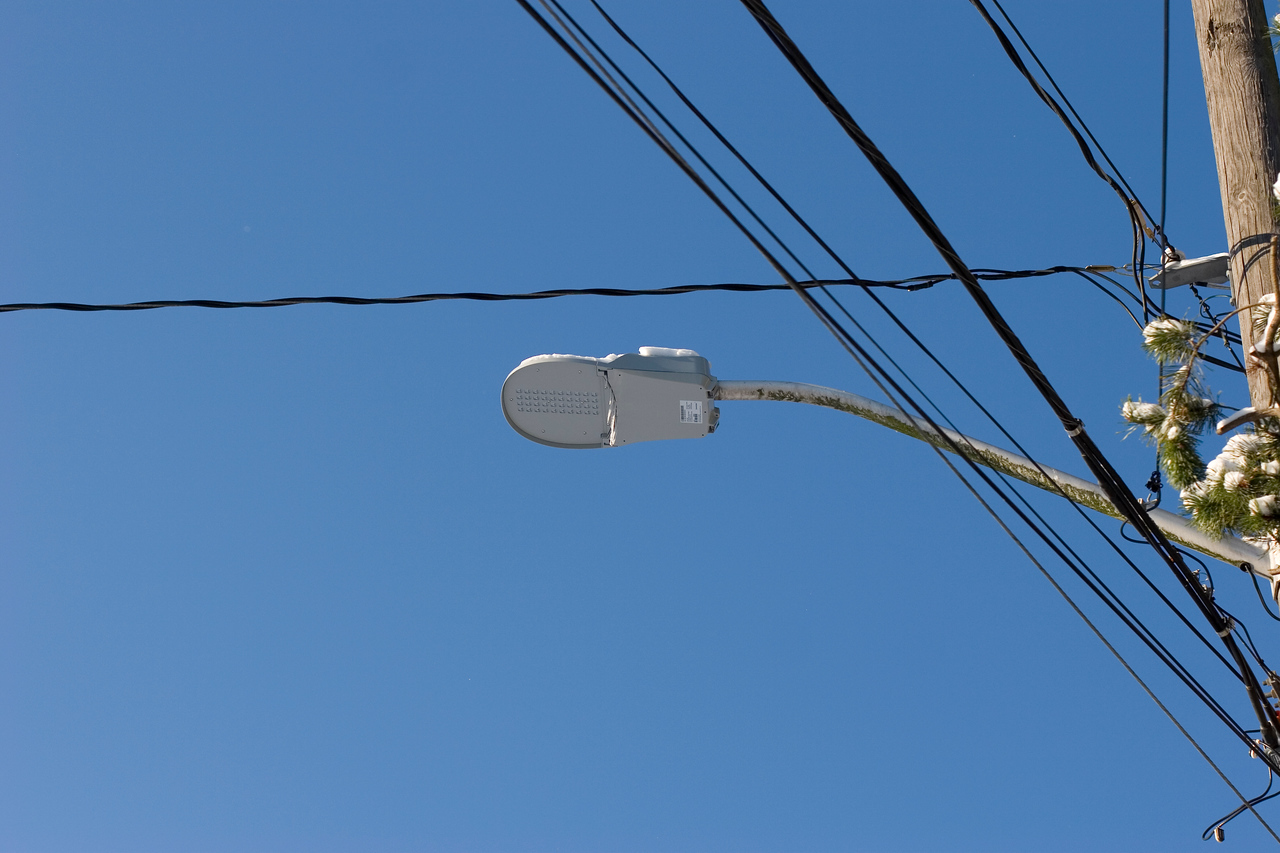 New L.E.D. array street light covered in snow and ice at Corliss Ave N and N 194th ST, Shoreline Washington.