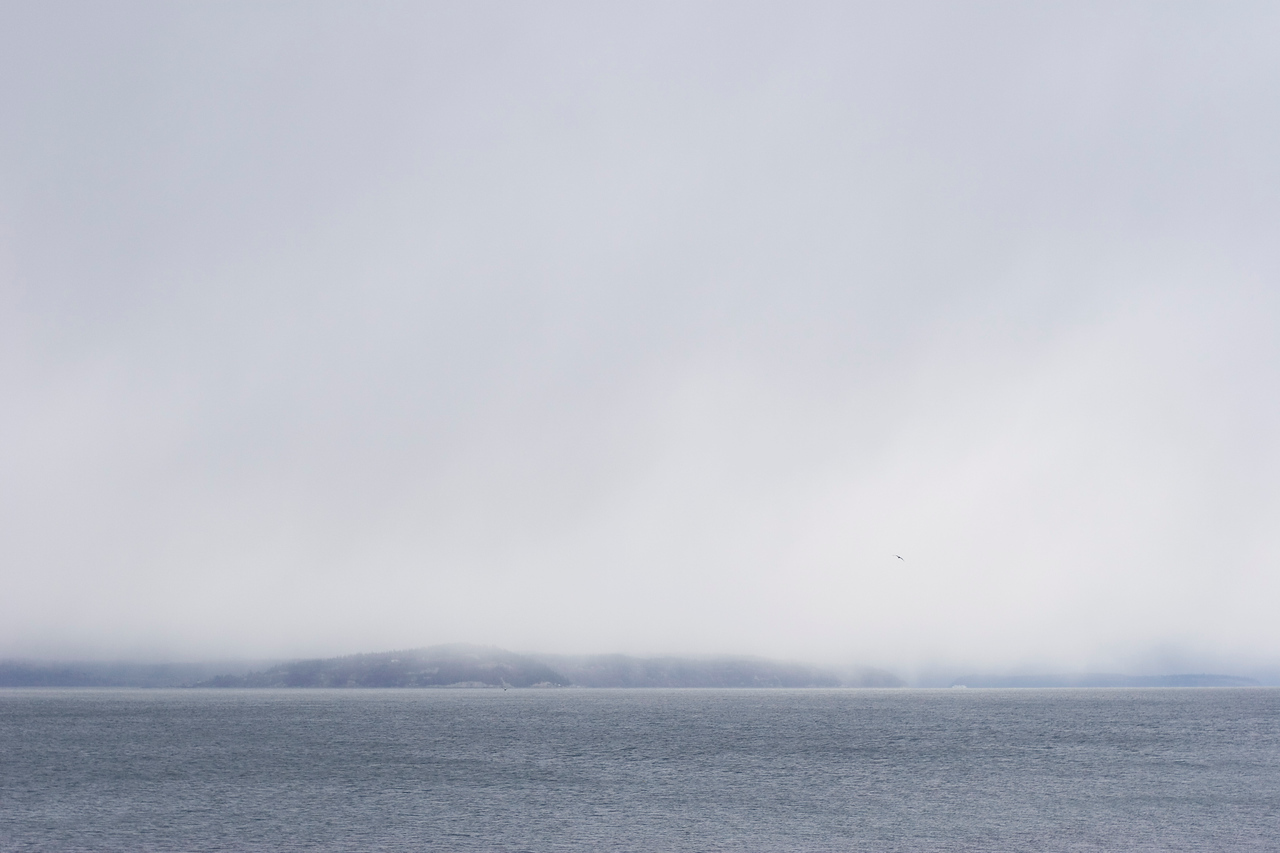 Snow fall moving across the Puget Sound.  Photographed from the Edmonds waterfront.