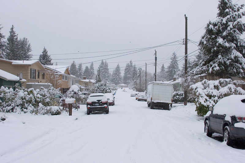 Looking west on N 194th ST from 1st Ave NE.  A lot of people stayed home today! Photographed: 1-18-2012.