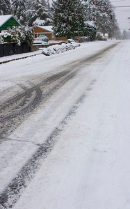 Road conditions on 1st Ave NE, looking south from NE 195th ST. Photographed: 1-18-2012.