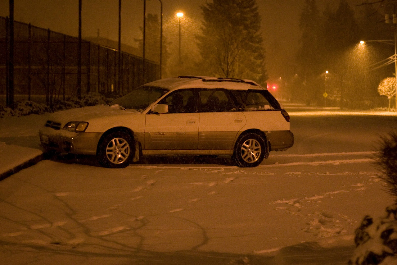 My car parked at the tennis courts near the Shoreline Pool.  This is looking south on the 1st Ave NE side.