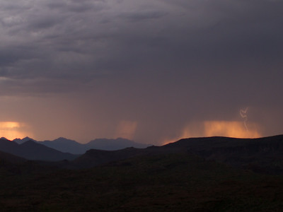 Photographed east of Canyon Lake on Apache Trail on 17 August 2014.   Canon 7D camera, Sigma 50mm f/1.4 lens, aperture f/1.4 and 1/10th of a second and a Nero Lightning Trigger.
