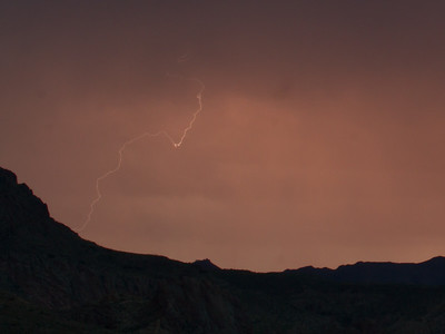Photographed east of Canyon Lake on Apache Trail on 17 August 2014.   Canon 7D camera, Sigma 50mm f/1.4 lens, aperture f/16 and 3.22 seconds with a Nero Lightning Trigger.