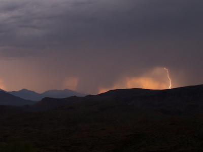 Photographed east of Canyon Lake on Apache Trail on 17 August 2014.   Canon 7D camera, Sigma 50mm f/1.4 lens, aperture f/1.4 and 1/12th of a second and a Nero Lightning Trigger.