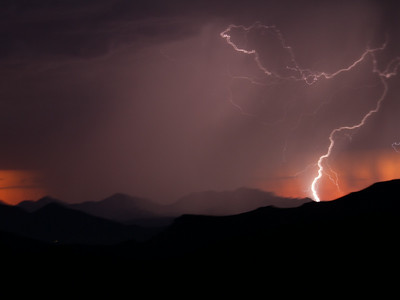 Photographed east of Canyon Lake on Apache Trail on 17 August 2014.   Canon 7D camera, Canon 70-300mm f/3.5-5.6 IS USM lens, focal length 105mm, aperture f/4.5 and 1.3 seconds and a Nero Lightning Trigger.