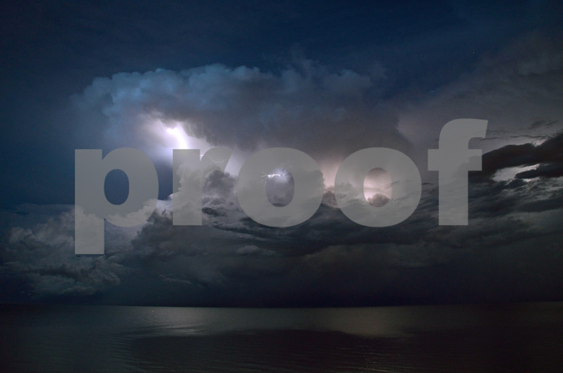 Lightning display over Lake Michigan just offshore at Shorewood, WI July 13, 2015 #3