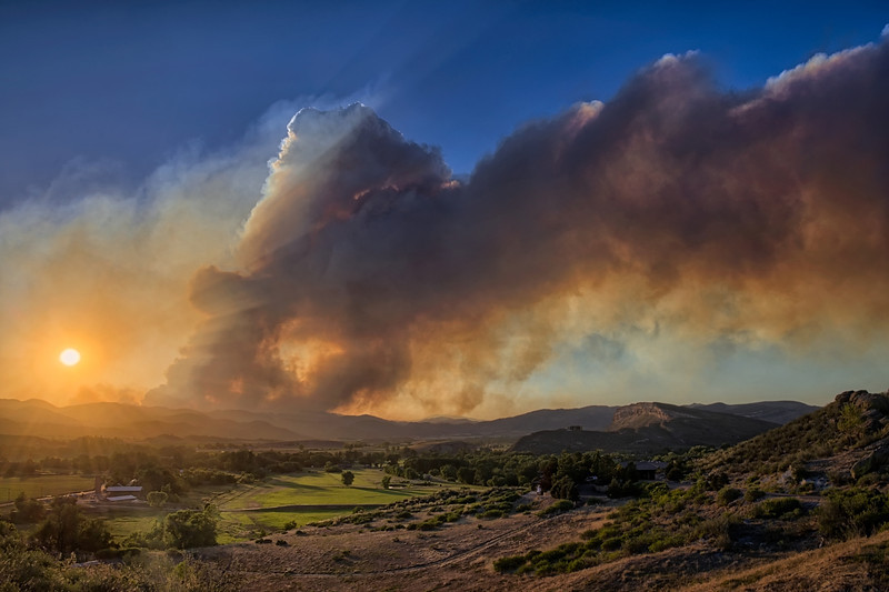 A Wind-Stoked High Park Fire Plume Rises Above Pleasant Valley