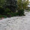 Driveway full of hail.<br /> Auffahrt voll Hagel