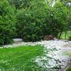 More hail in our back yard.<br /> Hinterm Haus noch mehr Hagel