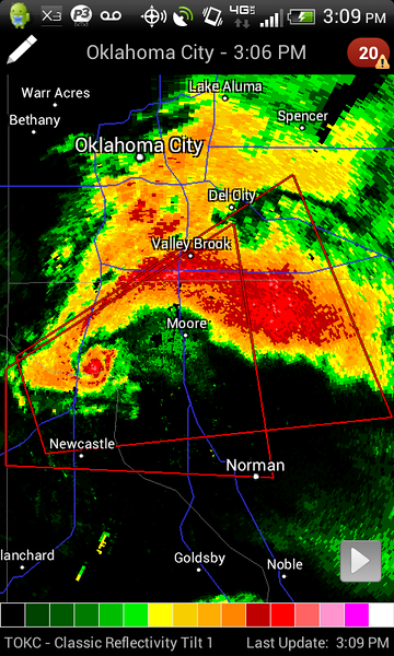About as insane as a radar grab can get. Large wedge tornado on the ground right here.