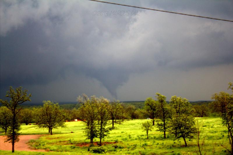(Blurry) shot of the tornado north of Prague, OK.