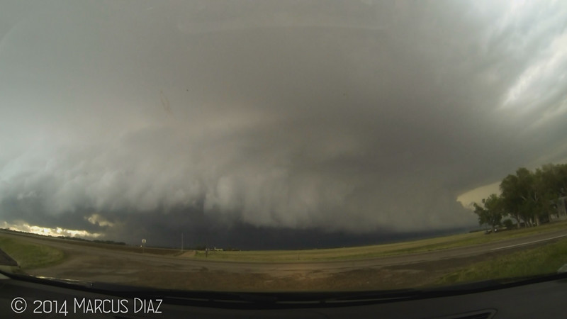 Supercell ramping up  north of Kinsley.
