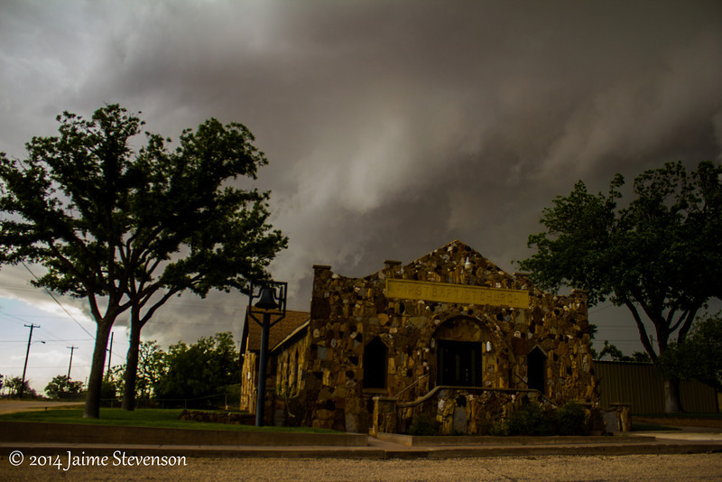 Garden City, and you can see hell brewing behind this small church. We tried getting gas in town, but the only gas station had shut down due to this tornadic storm approaching.