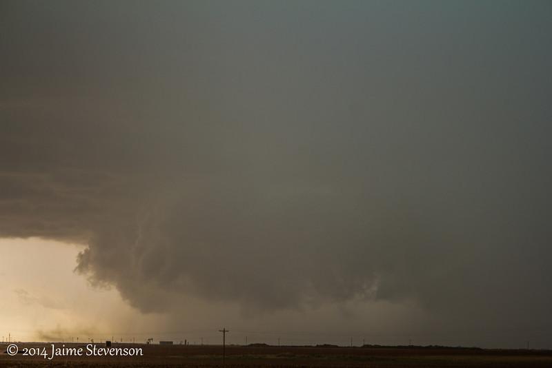 Wall cloud of our tornado warned, west of Lamesa, TX.