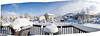 A six shot panorama looking out over my deck.  The cloud shrouding Bald Mountain was receding quickly.