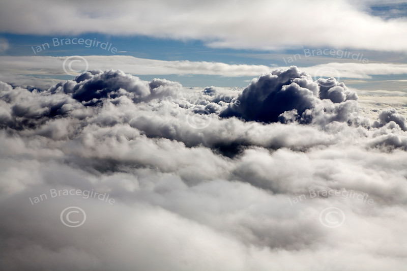 Aerial photo of clouds from above.