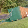 The baseball dugout at Cushing Academy in Ashburnham was flipped over after a storm ripped through the area.<br /> SENTINEL & ENTERPRISE / Ashley Green