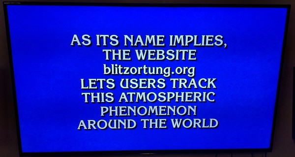 Blitzortung Jeopardy    May 11 2016