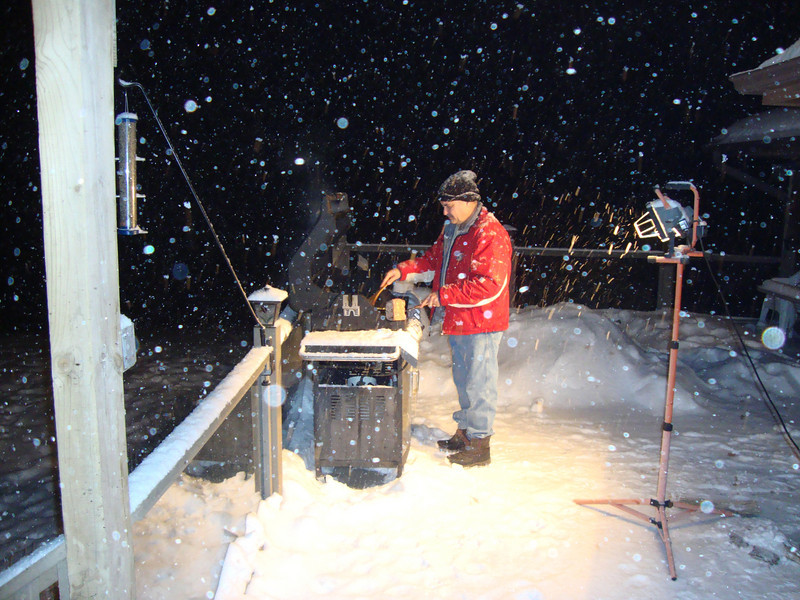 Greg grilling at the beginning of the blizzard