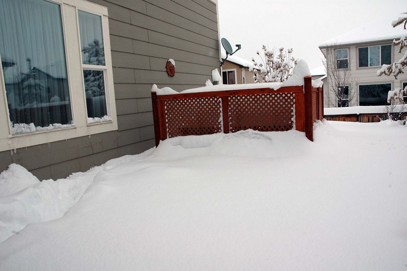 Side yard, looking toward the buried hot tub. Gotta clear the snow off the hot tub!