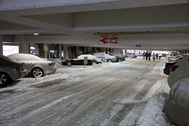 The parking garage in downtown Oak Park. I've never seen snow inside of it.