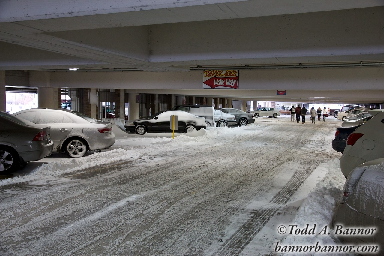 The parking garage in downtown Oak Park. I've never seen snow inside of it.