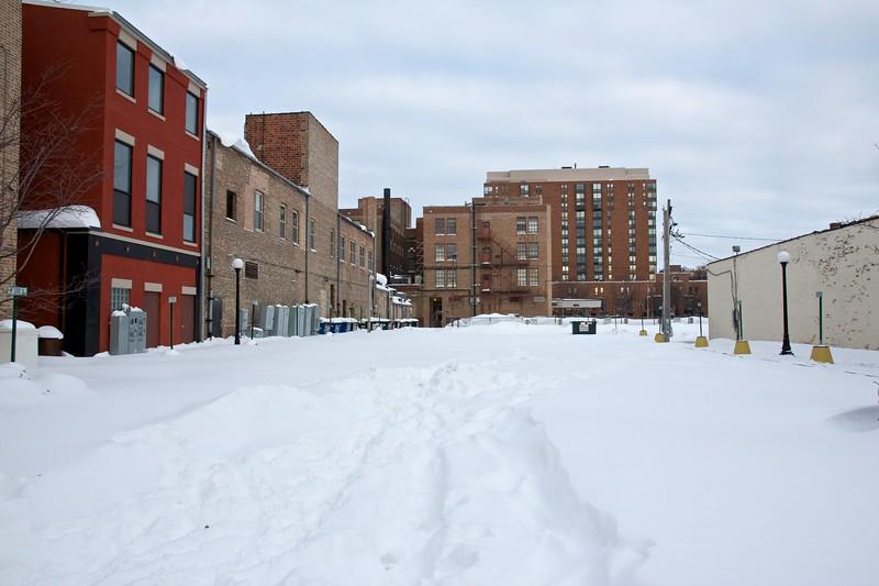 A deserted parking lot, downtown Oak Park.