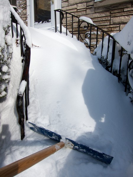 Somebody needs to invent a snow thrower that climbs stairs. Hey Dean Kamen...
