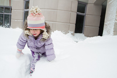 Lila enjoying the deep snow.   Front of Prudential Center.