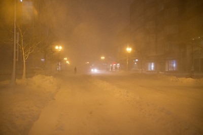 Boylston Street at Night - all cars off the road!  Looking West,