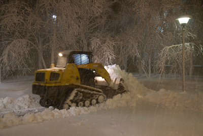 Snow covered trees outside Prudential Center.  Tractor trying to stay ahead of the snow accumulation.