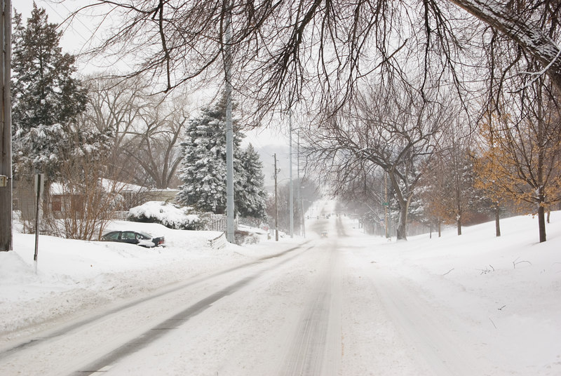 The plows were out all day.  Some main streets were relatively clear.