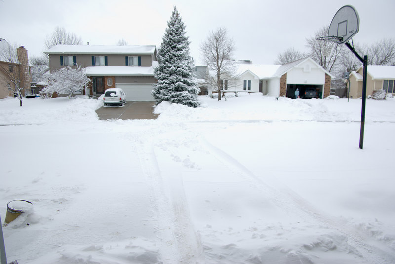There was over a foot of snow in the driveway.