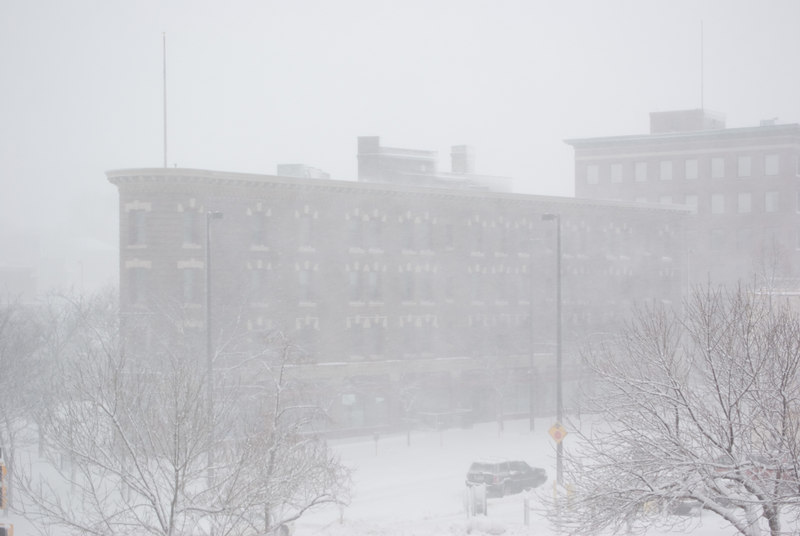 The Flatiron building was barely visible from just across the street.