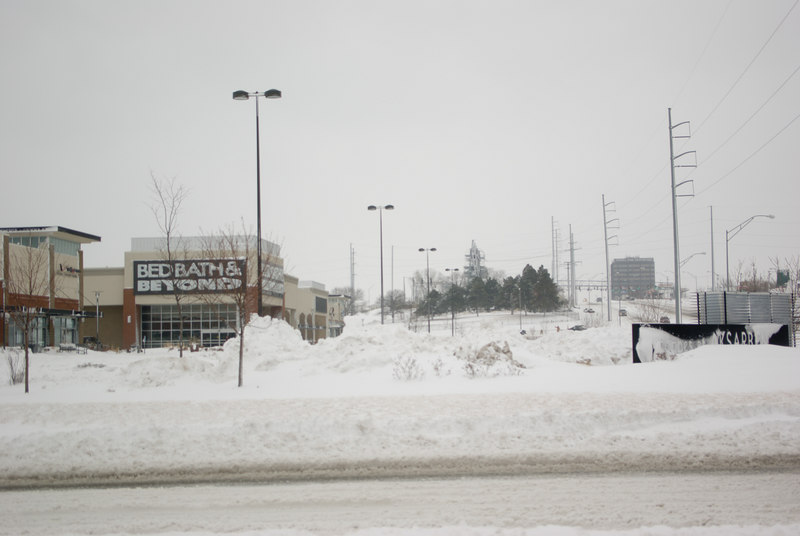 Snow from the parking lots was already piled high.  More snow was predicted for the next day.
