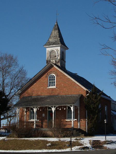 Old Schoolhouse on snowy day - Springtown, PA