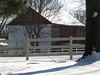 Fieldstone barn on Snowy Day - Springfield Township, PA