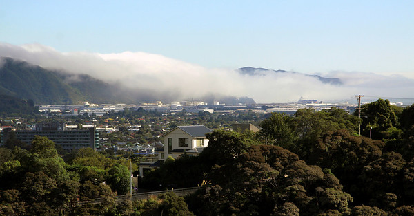 Sea fog rolls into Seaview (Wellington) in a light southerly flow - January 26, 2010.