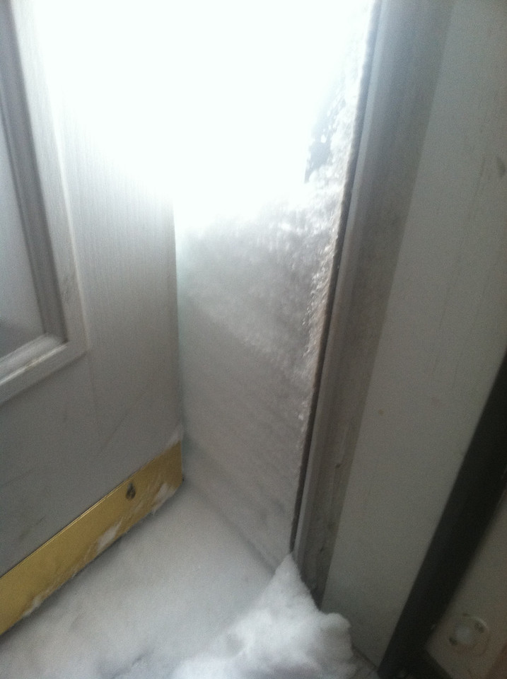 Saturday morning, back door. This is as far as the door will open...