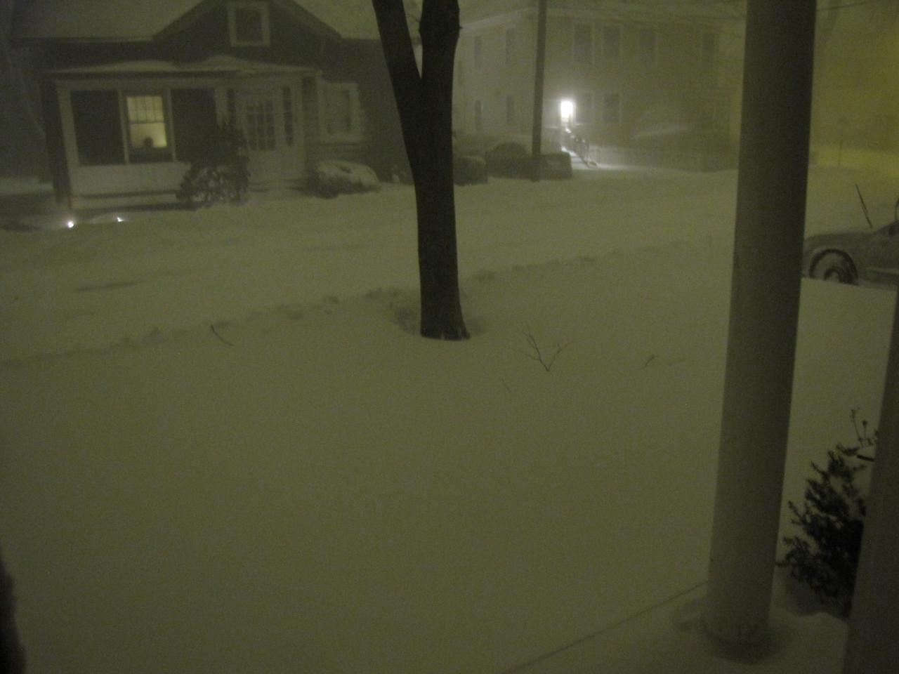Friday night, around midnight, front door