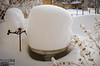 Just like the last snowstorm, the birdbath looks like a giant cake.