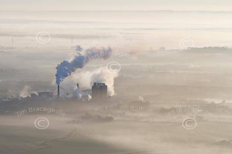 Aerial photo of Newark sugar factory in the fog.