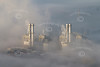 Aerial photo of Staythorpe Power Station in the fog.