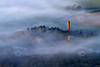 Aerial photo of Papplewick Pumping Station in the fog.