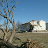 Damaged wood barracks