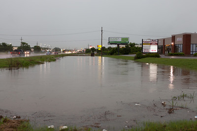 This is a deap drainage ditch along Goodman Road, it looks like the water likely came over the road later this night from looking at it the next morning mud was all over Goodman road. .