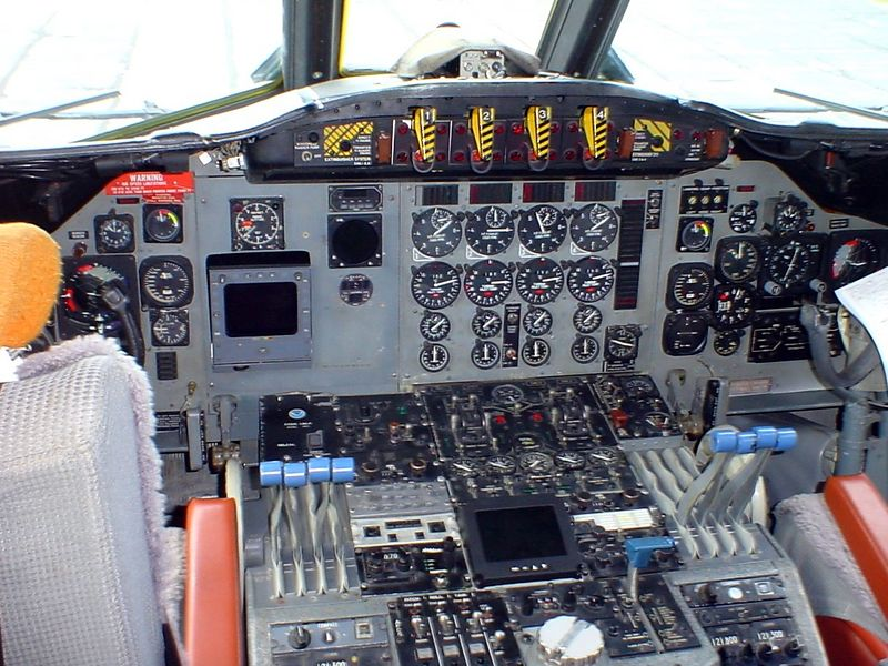 Instrument panel of Hurricane Hunter WP3D Orion airplane<br /> <br /> 5-4-05