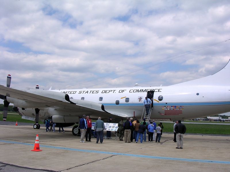 NOAA Hurricane Hunter WP3D Orion aircraft at Martin State Airport near Baltimore, MD<br /> <br /> 5-4-05