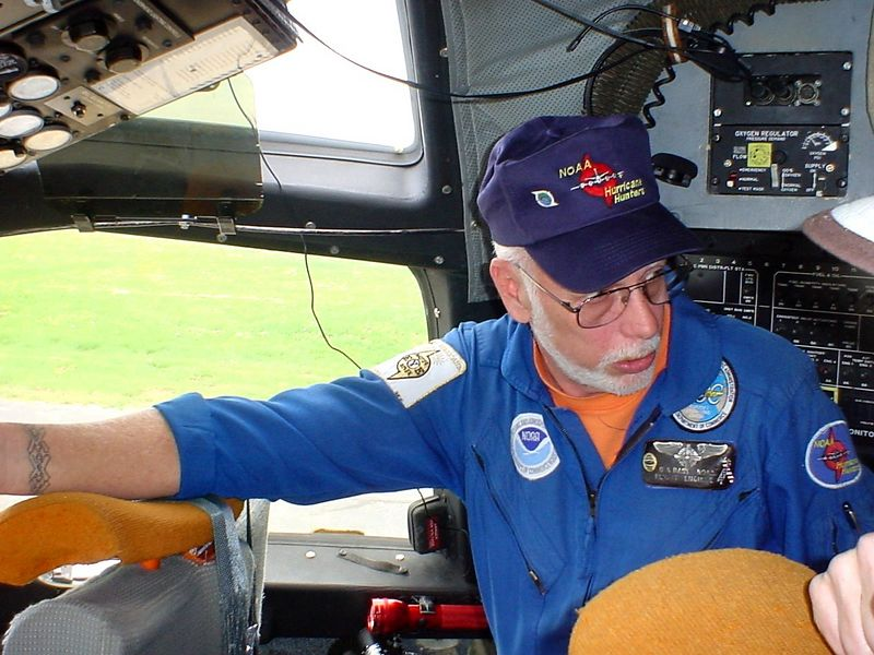 Hurricane Hunter flight engineer in the cockpit of his WP3D Orion airplane<br /> <br /> 5-4-05
